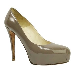 Brian Atwood Maniac Taupe Patent Platform Pump 9.5